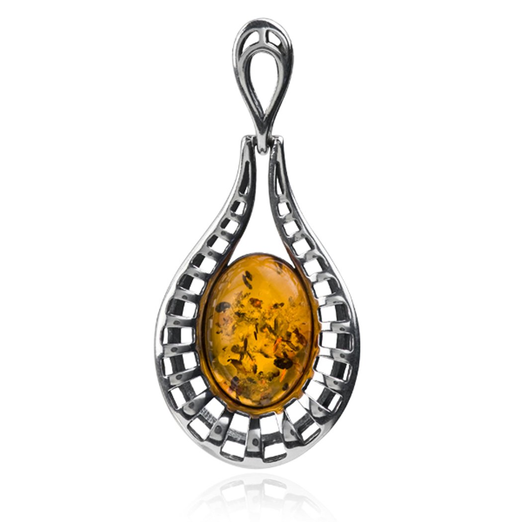 Sterling Silver Amber Oval Large Pendant