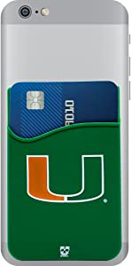 Miami Hurricanes Adhesive Silicone Cell Phone Wallet/Card Holder for iPhone, Android, Samsung Galaxy, Most Smartphones