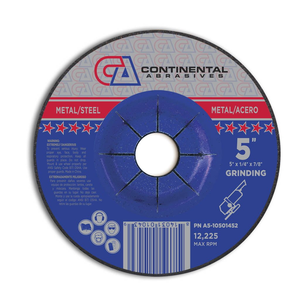 Continental Abrasives A5-10901452 Type 27 Grinding Wheels 9-Inch by 1//4-Inch by 7//8-Inch