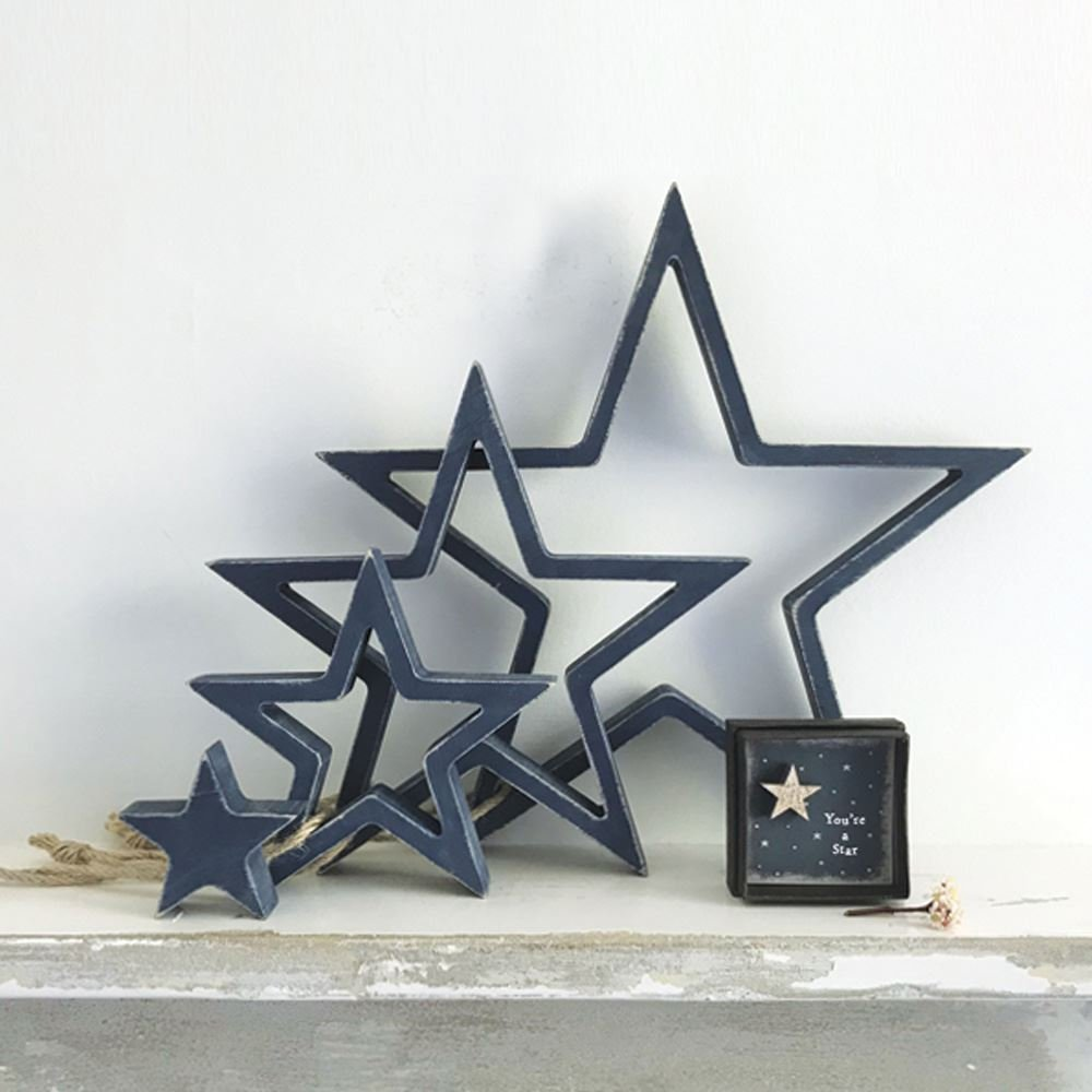 East Of India Hanging Wooden Outline Star Navy Set of 4 Home Decoration by East Of India (Image #2)