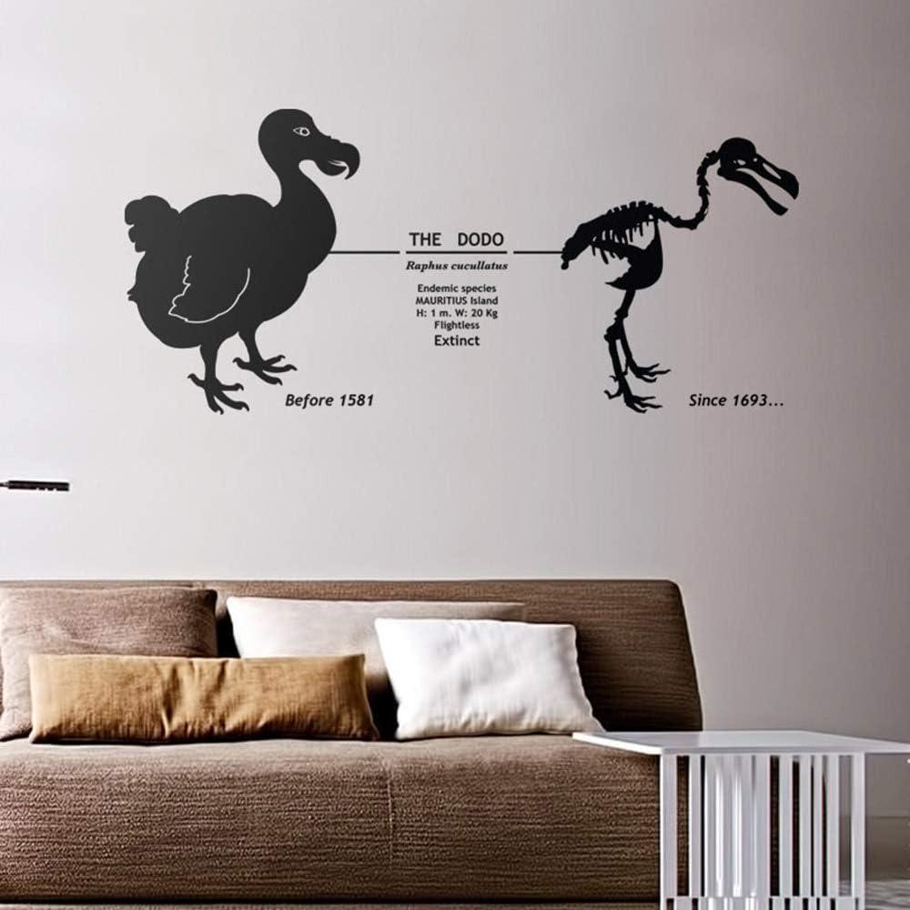 YuanMinglu Adhesivo de Pared Animal decoración de la Pared pájaro Dodo extinto con Fecha de Esqueleto Pegatina de Vinilo decoración de Dormitorio Mural 39X85.5CM