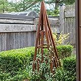 Warm Cinnamon Finish Wood Craftsman 69'' Garden Obelisk Trellis Outdoor Gardening