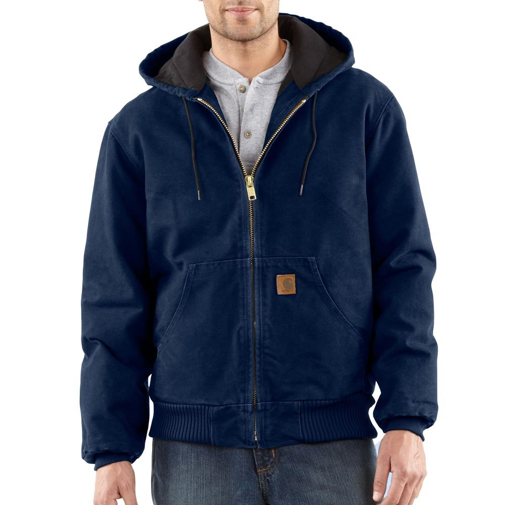 Carhartt Men's J130 Sandstone Duck Active Jacket - Quilted Flannel Lined - 2X Tall - Midnight