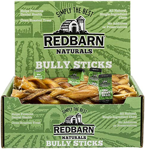 REDBARN Braided Bully Stick Dog Chew, 9 Inch, Naturals, 35 Count