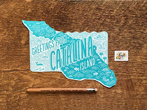 Santa Catalina Island Postcard, Greetings from Catalina California, Die Cut Letterpress State Postcard (Postcard Island)