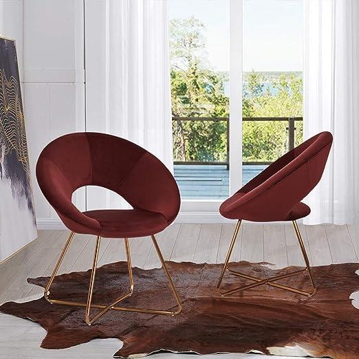 Duhome Velvet Upholstered Chairs for Dining Room, Set of 2 Elegant Design  Modern Velvet Accent Side Chairs Metal Legs Red