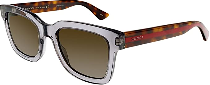 Gucci Herren Sonnenbrille GG0001S 005, Grau (Grey/Brown), 52
