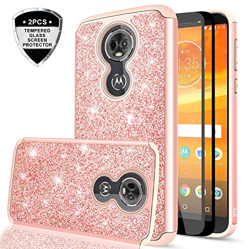 Moto E5 Plus Glitter Case,Moto E5 Supra Case with Tempered Glass Screen Protector [2 Pack] for Girls Women,LeYi Bling Shockproof Protective Phone Case for Motorola E Plus (5th Gen) TP Rose Gold