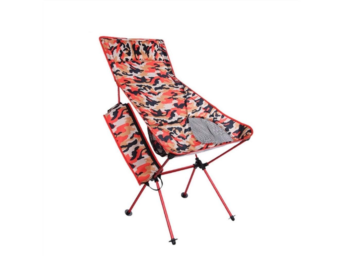 LMKIJN Bequemer Stuhl Tragbare Klapp Angeln Stuhl Liege Camping Stuhl für Outdoor und Angeln (Camouflage Orange) für den Urlaub