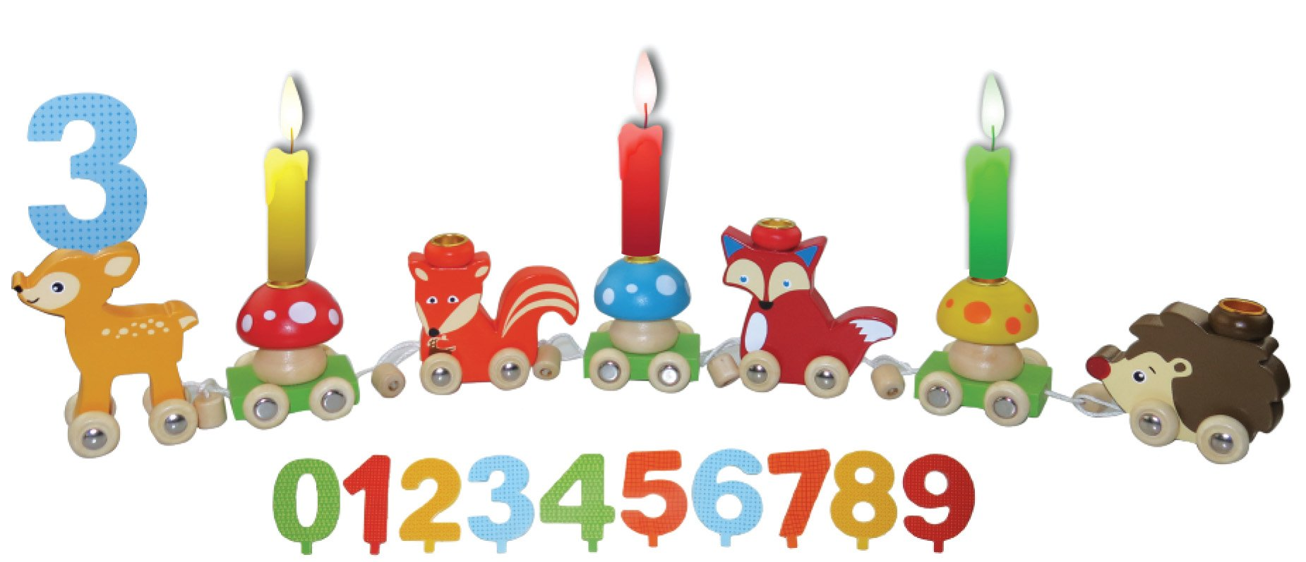 MAGNI Magnetic Numbers 0-9Included. 2610Birthdaytrain with Friends of The Forest- by MAGNI