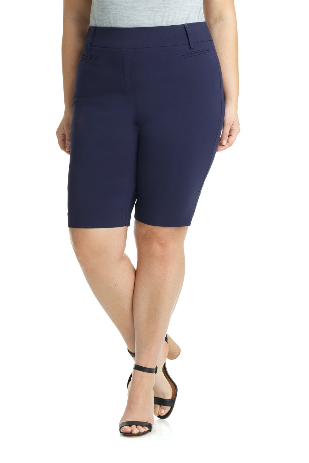 Rekucci Women's Ease In To Comfort Curvy Fit Plus Size Modern City Short (14W,Navy)
