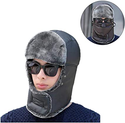 Thermal Fur Lined Trapper Bomber Hat Ear Flap Full Face Mask Neck Cycling Cap