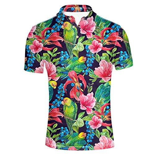 HUGS IDEA Hawaiian Mens Golf Polos Shirt Short Sleeves Fashion Summer T-Shirts Tee Tops Parrot Floral Black ()