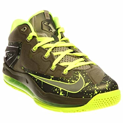 Nike Max Lebron XI Low Men Shoes Medium Khaki/Volt/Medium Olive 642849-