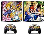 Cosines PS4 Slim Stickers Vinyl Decal Protective Console Skins Cover for Sony Playstation 4 Slim and 2 Controllers Dragon Ball Super Seiyan 4 VS Majin Buu