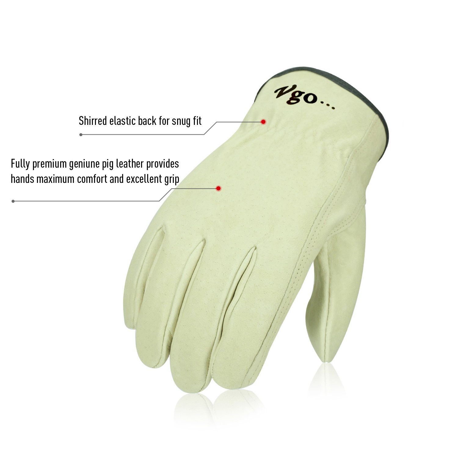 Vgo 3Pairs Unlined Men's Pigskin Leather Work Gloves, Drivers Gloves(Size M,Light Cyan,PA9501) by Vgo... (Image #3)