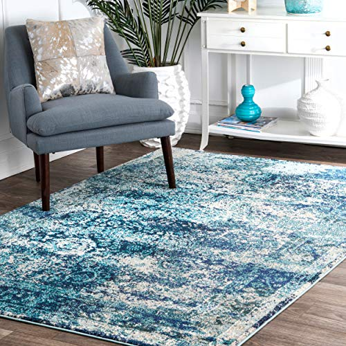 Koeckritz Oval 6 X9 Tahoe New London Indoor Durable Level Loop Area Rug for The Home with Premium Bound Polyester Edges.