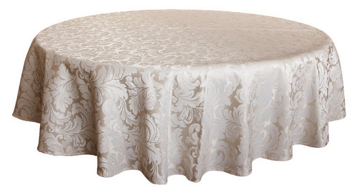 Tektrum 70 inch Round Damask Jacquard Tablecloth Table Cover - Waterproof/Spill Proof/Stain Resistant/Wrinkle Free/Heavy Duty - Great for Banquet, Parties, Dinner, Kitchen, Restaurant, Wedding (Beige)