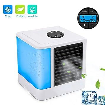 Air Luftk/ühler 3-in-1 Kleine Tragbare USB-Air Cooler Mobile Fan Mini AC-Einheit Pers/önliche Luftraum Luftbefeuchter Luftreiniger mit 3 Geschwindigkeiten und 7 Farben LED-Licht