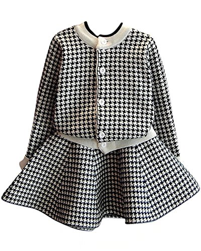 Toddler Girls Houndstooth Sweater Outfit Kids 2 Pieces Long Sleeves Cardigan + Skirt Dress Set, Black, Age 2T-3T (2-3 Years) = Tag 9