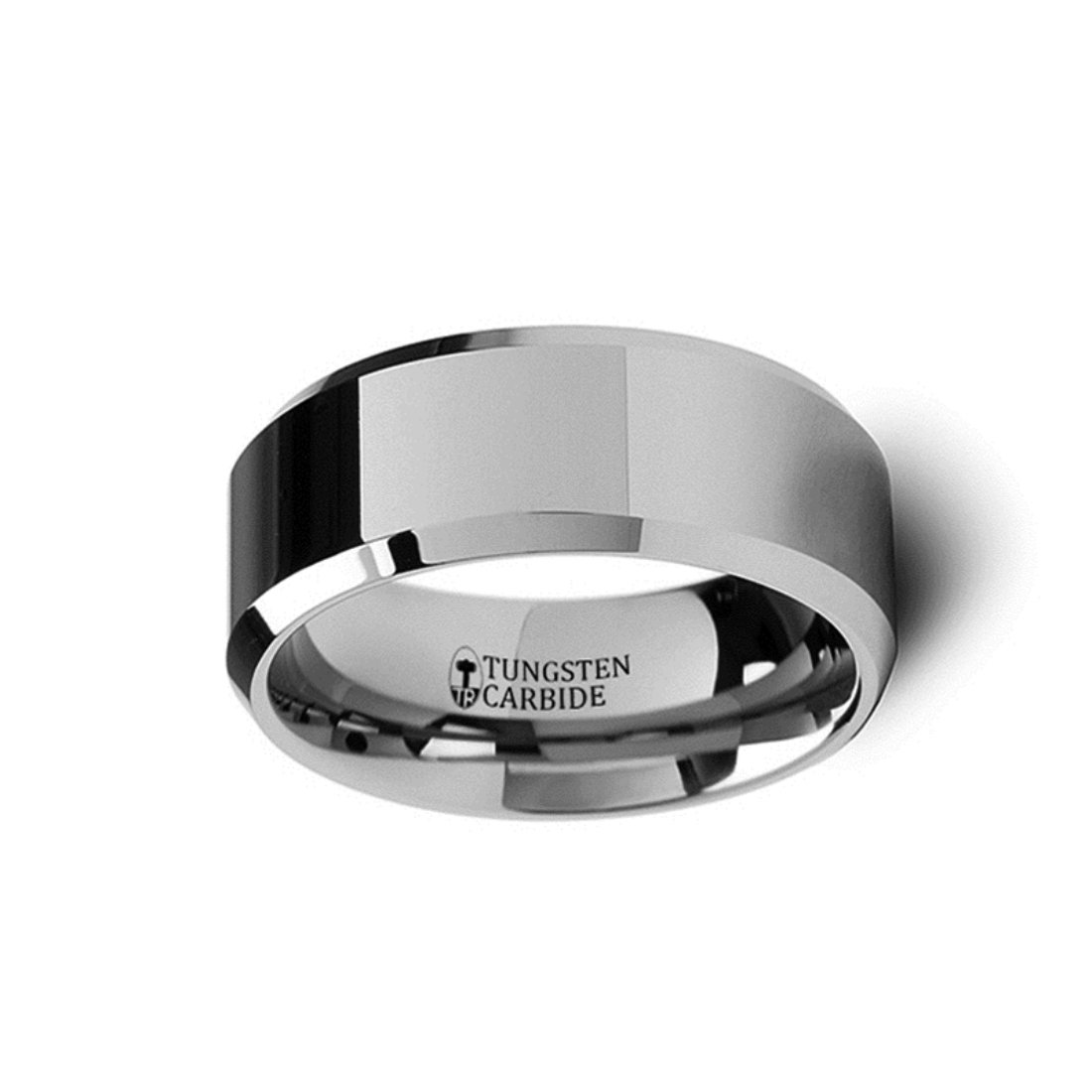 Thorsten Corinthian Beveled Edge Flat Tungsten Carbide Ring 10mm Wide Wedding Band with Custom Inside Engraved Personalized from Roy Rose Jewelry