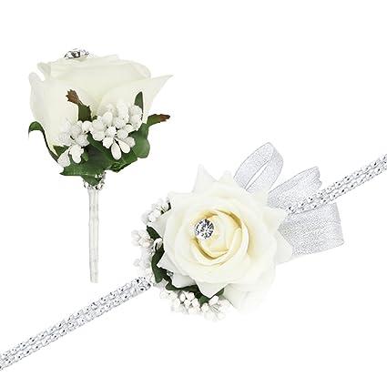 Rose Wrist Corsage Bracelet And Boutonniere Set Rhinestone Ribbon