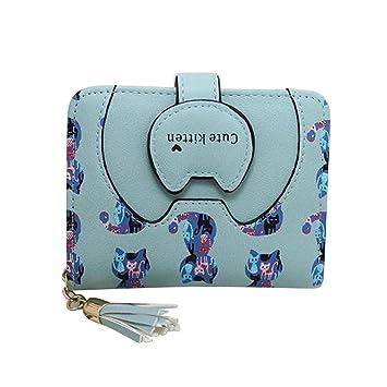Malloom® Mujeres Gatos monedero de la cartera a corto Bolsas Bolsos titular de la tarjeta (azul): Amazon.es: Hogar