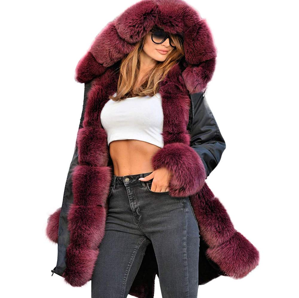 Funnygals - Women's Overcoat Ladies Winter Warm Thick Faux Fur Coat Hood Parka Long Jacket Trech Coats Plus Size by Funnygals - Clothing