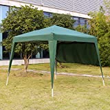 Kinbor 10'x10' Ez Pop-up Capony Wedding Party Tent Gazebo Portable Commercial Instant Folding Outdoor Canopy with One Single Sidewall and Carrying Bag, Green