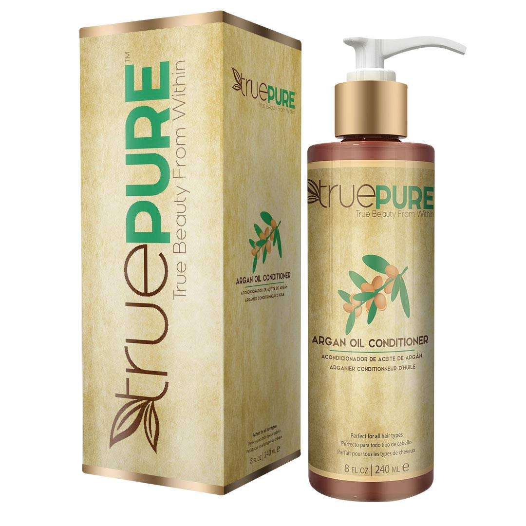 TruePure Argan Oil Conditioner (8 oz.) Deep Conditioner, Natural Hair Treatment for Dry, Damaged Follicles, Split Ends | Sulfate, Paraben, Fragrance Free | For Men & Women | Made in USA