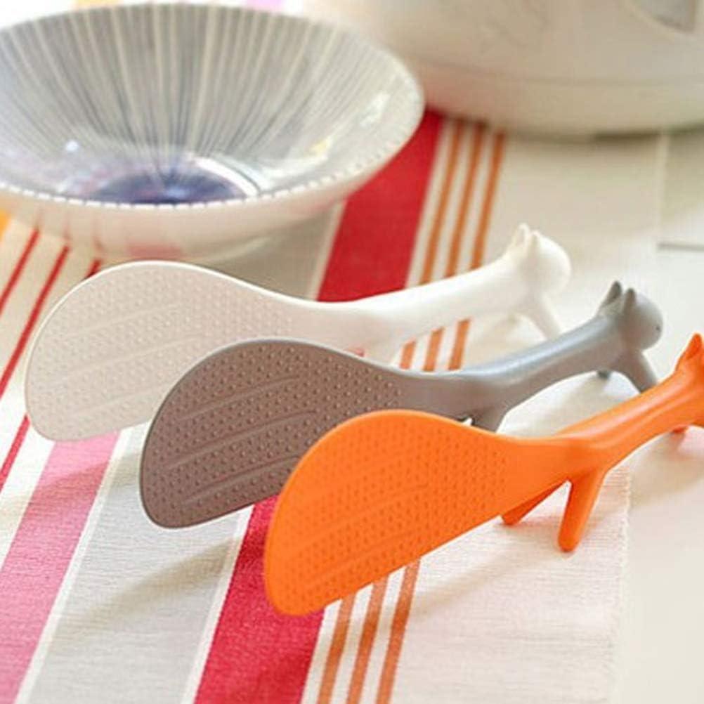 Merkts 2Pcs Creative Non-Stick Rice Paddle Spoon,Lovely Squirrel Shape Standing Rice Spoon,Random Color