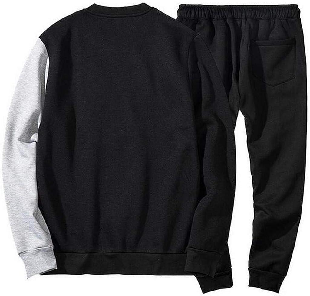 XiaoTianXinMen XTX Mens Letter Print Casual Round Neck Pullover Sweatshirts Two Piece Suit Outfits Jogging Pants Tracksuit Blue 2XL