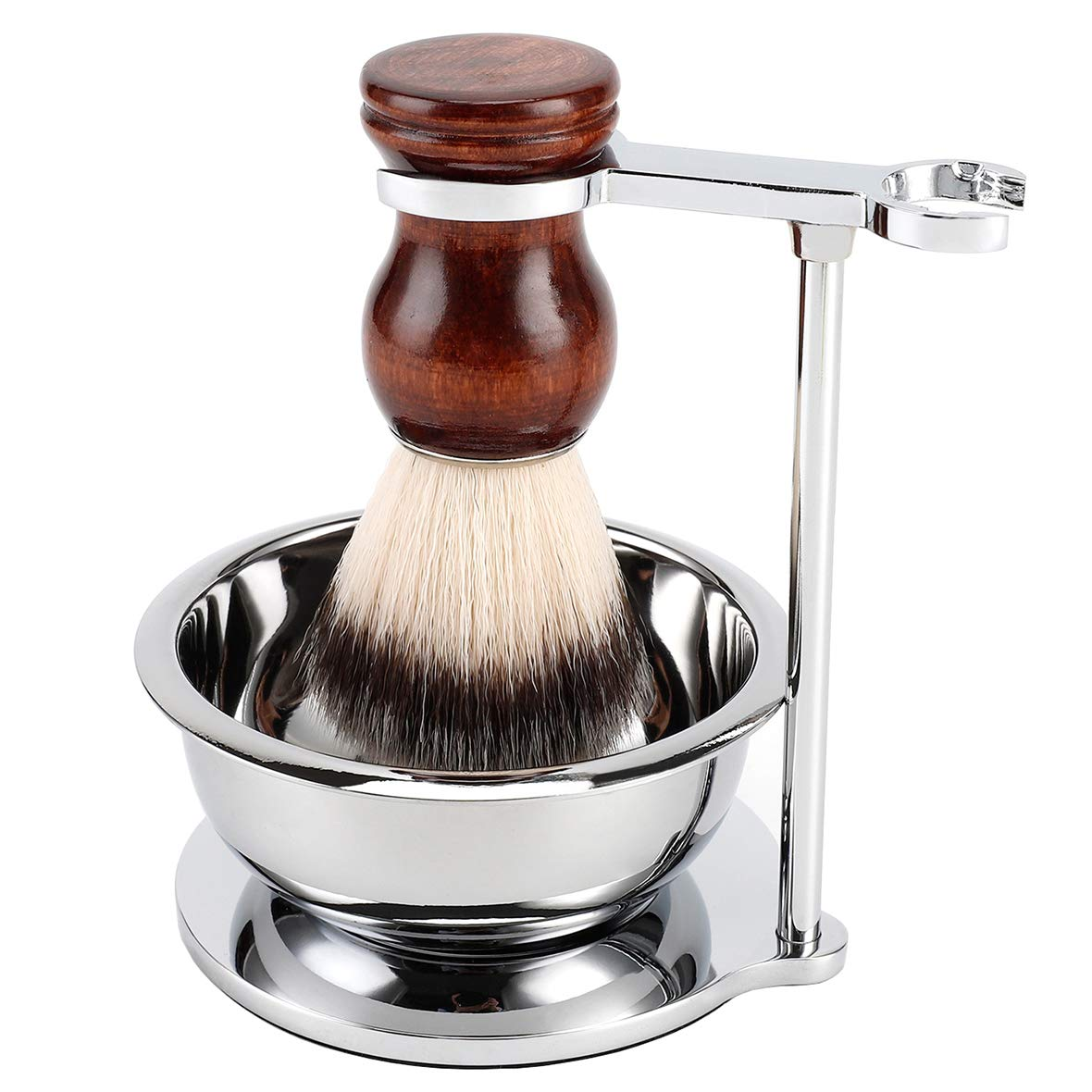 PerPro Deluxe Stainless Shave Razor Stand + Shaving Soap Bowl with Shaving Brush,Compatible with Gillette Fusion and Mach 3,Safety Razor,Double Edge Razor,Manual Razor