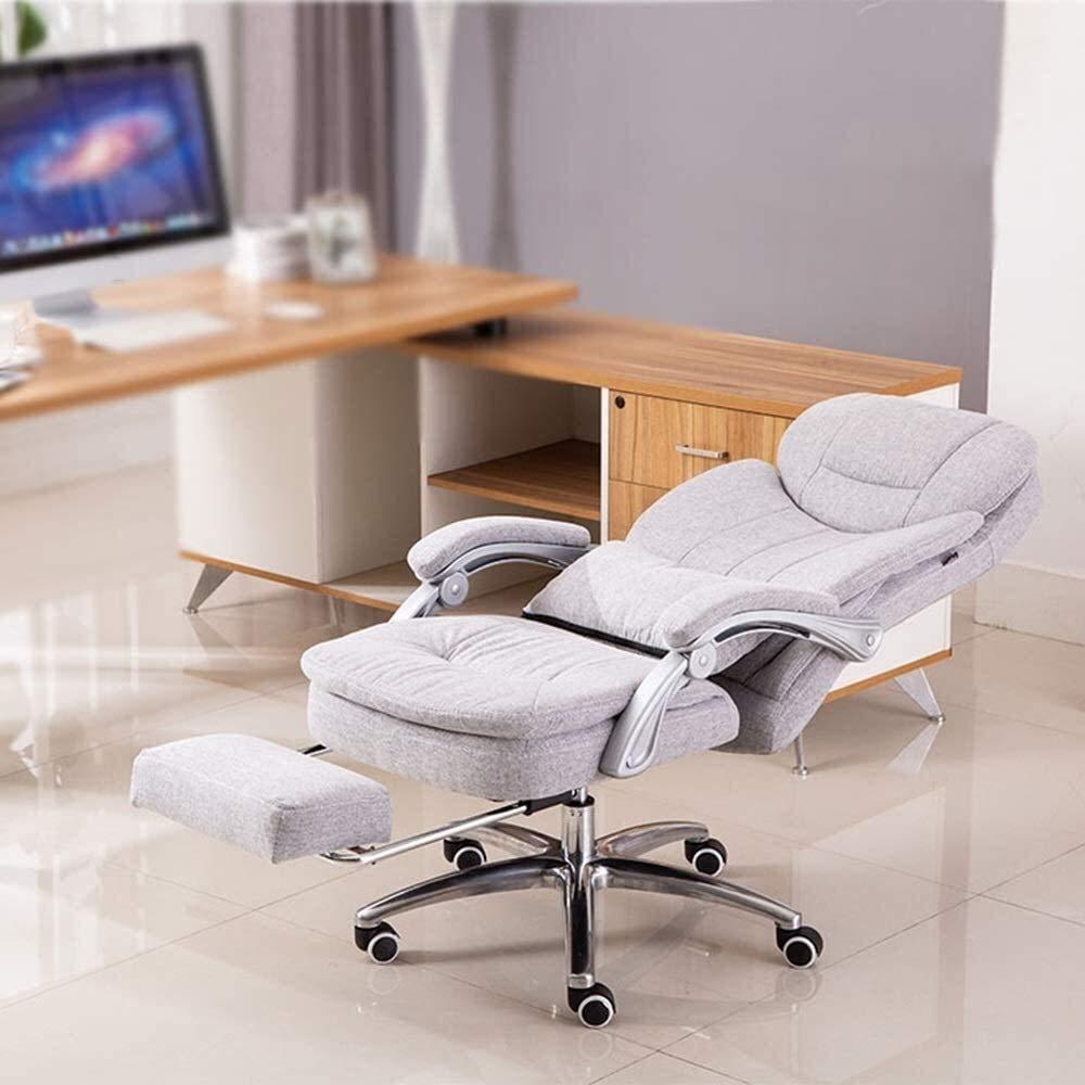 Xiuyun hög rygg stor storlek tyg spelstol med fotstödsuppgift svängbar verkställande datorstol med ländrygg kudde bärkapacitet: 150 kg atletisk stol (färg: Ljusgrå) Ljusgrå