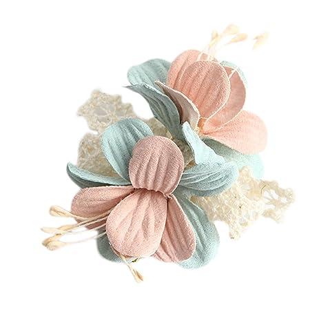 Kanggest Pinzas de Pelo para Bebe Niña Flores de Encaje Horquillas de Pelo Clip para Adornos de Pelo Accesorios, 1 Piezas(Rosado)