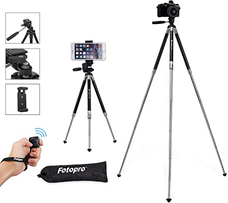 Phone Camera Tripod Photography Tripod with Bluetooth Remote and Phone Clip,Quick Release Portable Adjustable Phone Holder for Vlog,Travel and Work
