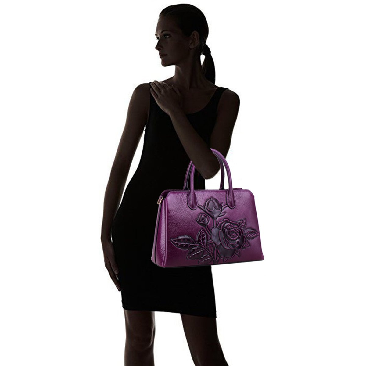 CDM product APHISON Designer Unique Embossed Floral Cowhide Leather Tote Style Ladies Top Handle Bags Handbags small thumbnail image