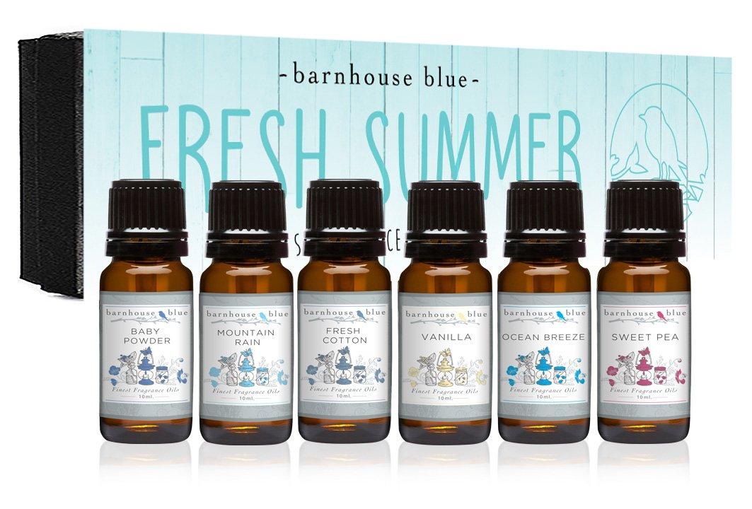 Premium Grade Fragrance Oil - Fresh Summer - Gift Set 6/10ml Bottles - Baby Powder, Fresh Cotton, Ocean Breeze, Sweet Pea, Mountain Rain, Vanilla by Barnhouse Blue