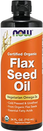 NOW Supplements, Certified Organic Flax Seed Oil Liquid, Cold-Pressed and Unrefined,