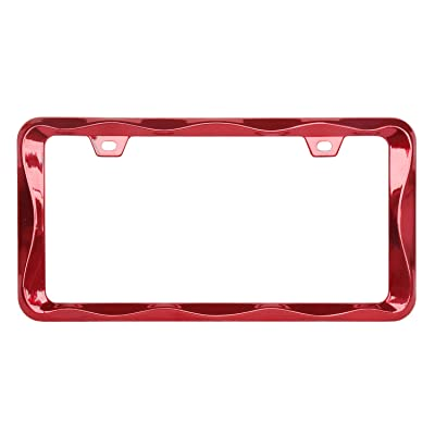Sgooky 3D Curly Wave Pattern License Plate Holder Chrome License Plate Frame from Pure Zinc Alloy Metal Perfect Plate Holder (1pc, Shining red): Automotive