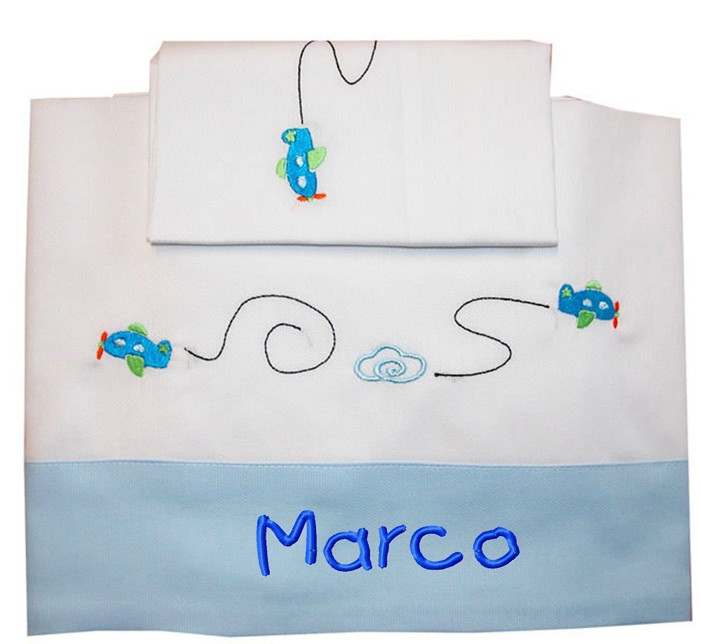 ZIGOZAGO - Set per culla o lettino AEREI in piquet di cotone in 3 pezzi con nome personalizzato. Federa, lenzuolo e coprimaterasso con elastico