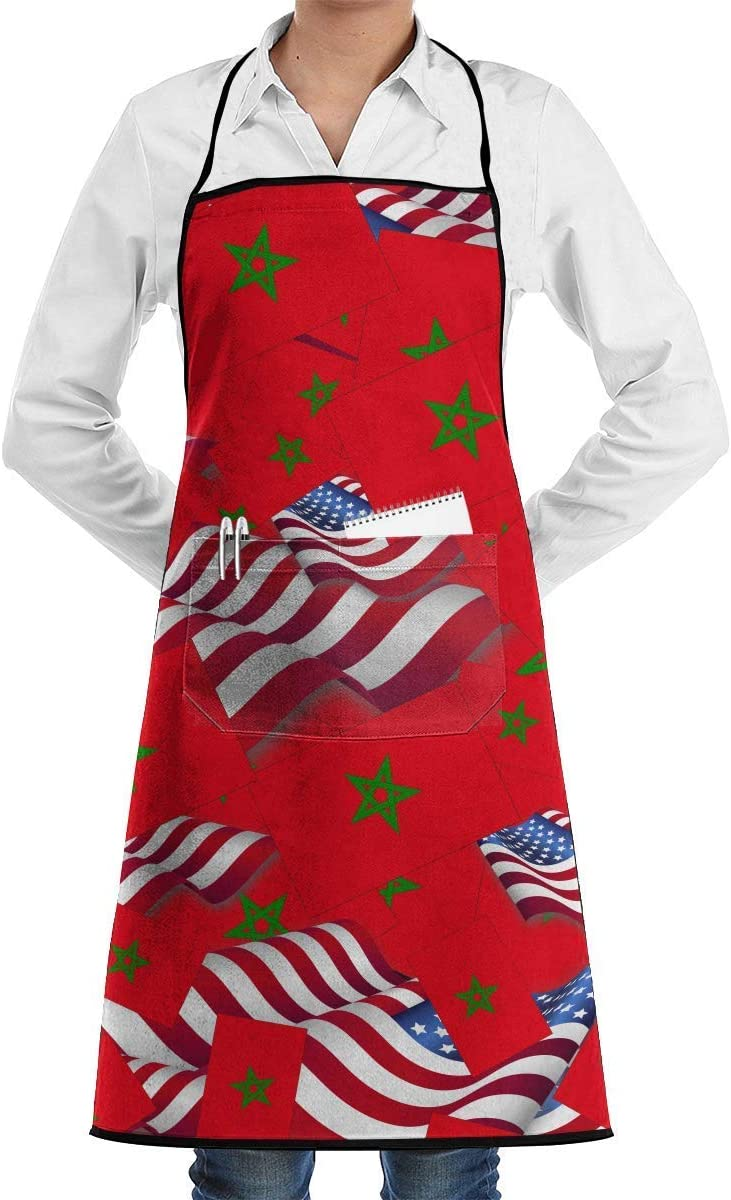 dfhfdsh Delantales,Delantales para barbacoas y ahumadores Morocco Flag with America Flag Bib Apron Chef Apron with Pockets For Men and Women Prossional Gardening Gifts