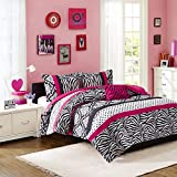 Mi-Zone Reagan Comforter Set Full/Queen Size - Pink, Zebra Polka Dot – 4 Piece Bed Sets – Ultra Soft Microfiber Teen Bedding for Girls Bedroom