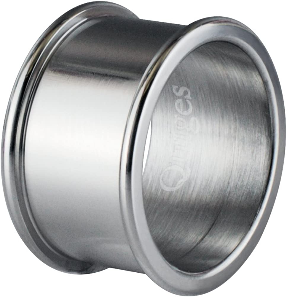 Quiges Stainless Steel Silver Base Ring 8mm Height for Stacking Ring Collection