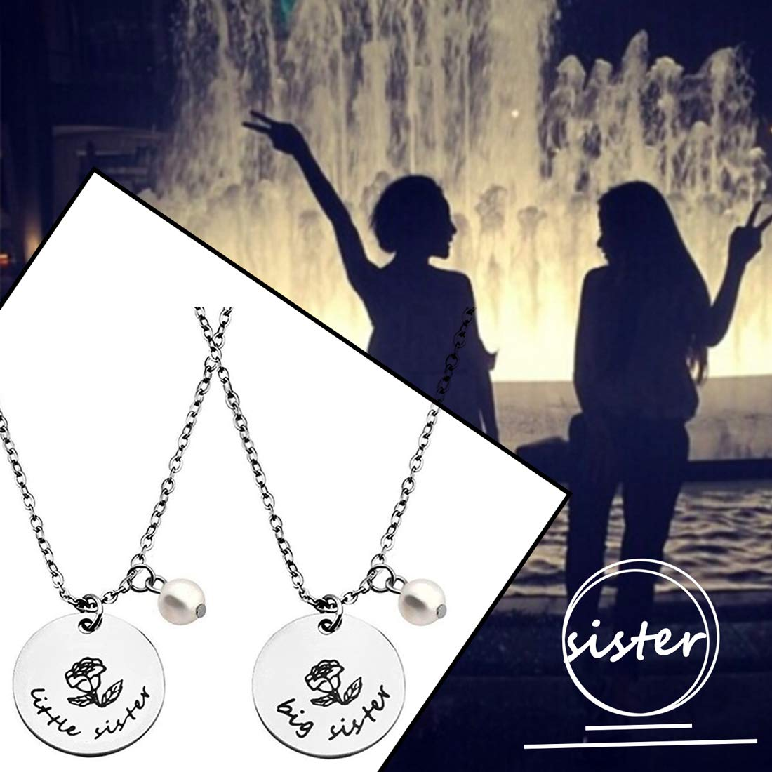 8a51238be5 Amazon.com: Zuo Bao 2 Sister Necklace Big Sister Little Sister Necklace Set  Sisters Gift Best Friend Necklace (2PC Sister/Set): Clothing