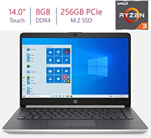 HP 14.0-inch HD Touchscreen Laptop PC, AMD Ryzen 3 3200U 2.6GHz Processor, 8GB DDR4 RAM, 256 GB PCIe NVMe M.2 SSD, Stereo Speakers, AMD Radeon Vega 3 Graphics, Bluetooth, HDMI, WiFi, Windows 10