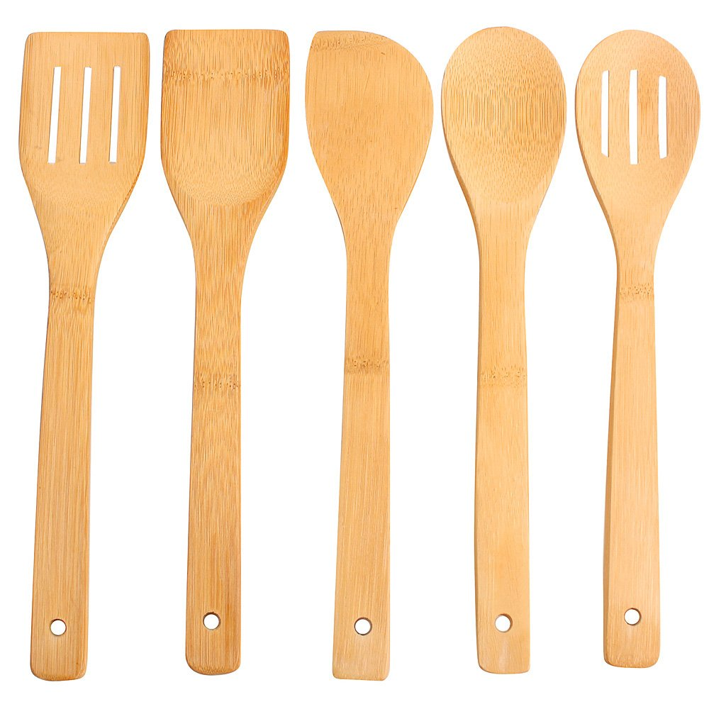 5pcs Pure Bamboo Wooden Kitchen Cooking Utensils Tools Set Spatula Spoon Solid Turner Cookware Zhongqiao