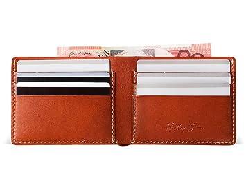 ee65f372cf5aa1 Hentley Mens Slim Manhattan Italian Leather Wallet - Handmade - Sleek and  Simple Includes ID Window