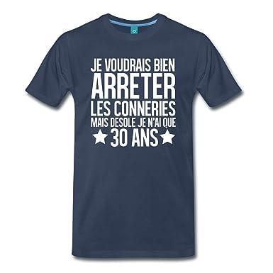 Spreadshirt Anniversaire 30 Ans Arrêter Les Conneries T-Shirt Premium Homme   Amazon.fr  Vêtements et accessoires b9b57f13e28