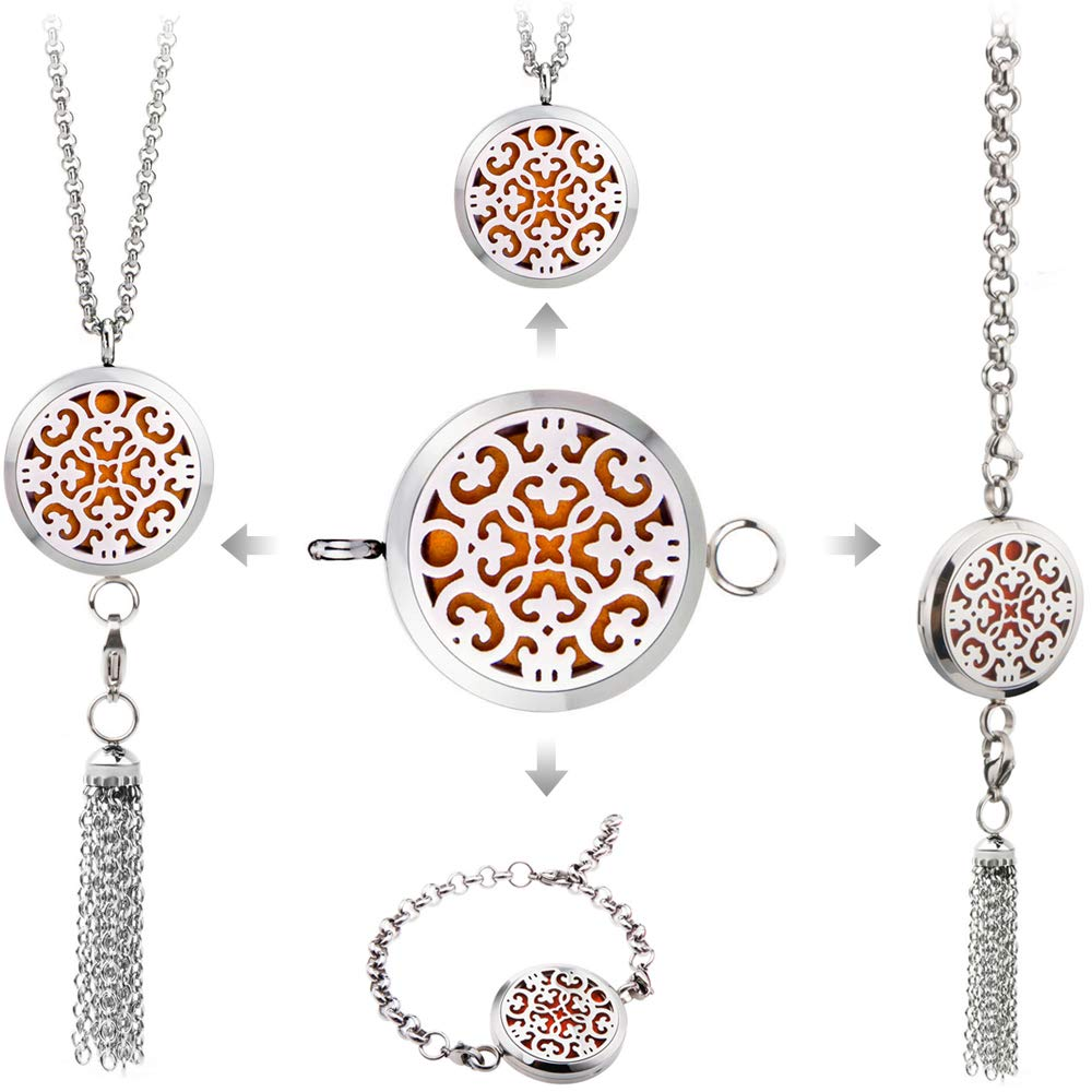 BESTTERN Multi Functional Essential Oil Diffuser Necklace Bracelet, 30mm Stainless Steel Aromatherapy Pendant Necklace Bracelets Diffuser with Dangle, 8Pcs Washable Refill Pads
